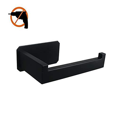 Celbon Badezimmer Selbstklebender Toilettenpapierhalter matt schwarz SUS 304 Edelstahl Toilettenpapierhalter ohne Bohren Einfache Installation Quadratisch