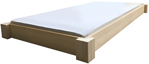 LIEGEWERK Bodentiefes Designbett Massivholzbett Bett Holz massiv 90 100 120 140 160 180 200 x 200cm hergestellt in BRD (140cm x 200 cm)