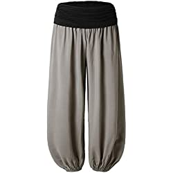 WOZOW Femmes Taille Plus Imprimé Dames Sarouel Pleine Longueur Pantalon Large Jambières Femme Bouffant Bande Stretch A La Floral Imprime Haute(Gris-A,M)