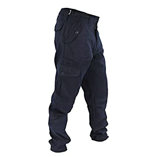 WWK Mens Army Combat Work Trousers Pants Combats Cargo - Navy - 32""