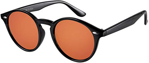 La Optica UV 400 Damen Herren Retro Runde Sonnenbrille Round - Einzelpack Glänzend Schwarz (Gläser: Rot Orange verspiegelt)