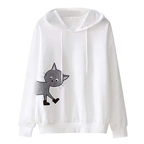 Damen Kapuzenpullover Einfarbig Kapuzenpullis Langarm Hoodie Sweatshirt mit Kapuze MYMYG Print Jacket Sweatshirt (A4-Weiß,EU:46/CN-L)