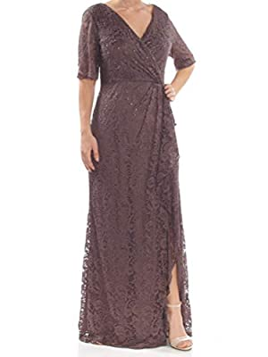 Adrianna Papell Womens Brown Embellished Lace 3/4 Sleeve Full-Length Formal Dress Size: 14