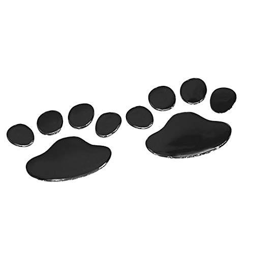 Homyl 2 Pcs Decalcomania Gatto Impronte Zampa Adesivo Per Auto Moto Laptop Muro - Nero