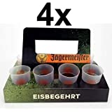 J/ägermeister Shotglas Set Wei/ß Halter 4x Shotgl/äser