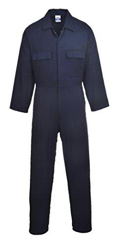 Portwest Overall Euro Baumwolle Boilersuit Druckknopf Vorderseite Elastische Taille Student Arbeiter S-3XL - Marineblau, XL Lang