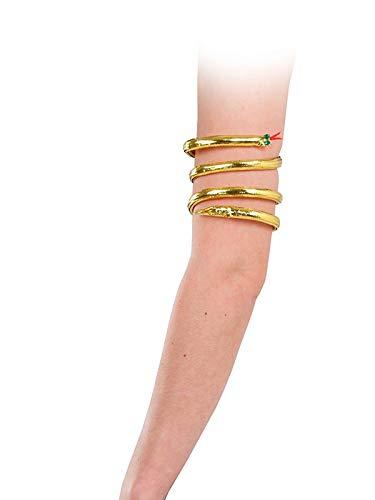 Brazalete de serpiente egipcia para completar tu disfraz de Cleopatra. Colócalo en tu brazo junto a tu disfraz de faraona. Mide 80cm de largo puede adaptarse a la forma y tamaño de tu brazo.