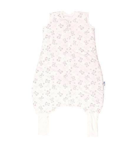Schlummersack Schlafsack mit Füßen ganzjährig in 2.5 Tog mit verlängerten Fußbündchen zum Umklappen - Teddy - 90 cm