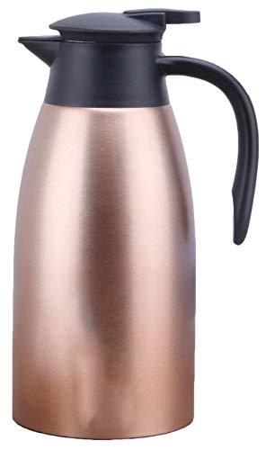 Isolierkanne 304 Edelstahl Thermoskannen 2L Isolierte Kaffee Topf Kaffee Thermos Haushalt thermosflasche HEI und kalt dual Gebrauch Isolierung Topf für Saft Milch Tee Silber Weinrot Rotgold Gold Lila (Metall Kaffee-karaffe)