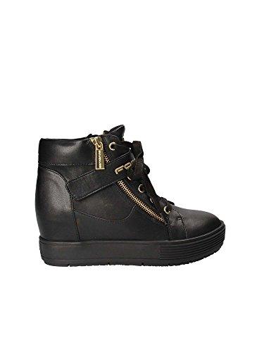 Fornarina sneakers con zeppa interna nero pifmj9606wva0000 meti-black nappa nuova collezione autunno inverno 2016 2017