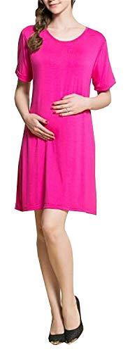 HaiDean Still Kleid Damen Kurzarm Beiläufige Doppelte Umstandsmode Jungen Chic Schichten Vogue Schwangere Kleider Normallacks Kneilang Umstandskleid (Color : Rosy, Size : L) Vogue-chic Mode