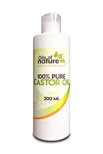 Huile de Ricin (200ml) - Pressée à Froid Pour la croissance des cheveux et des cils/sourcils - 100% pure et naturelle sans OGM - Bouteilles de 200ml CONVIENT POUR LES VÉGÉTARIENS