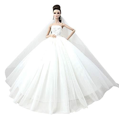 BEESCLOVER Puppe Kleid Hohe qualität Handgemachte Langen Schwanz Abendkleid Kleidung Spitze...