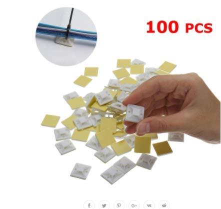 Preisvergleich Produktbild JenNiFer 100 Teile / Paket 20X20Mm Selbstklebende Kabelbinder Kabelhalterungen Schellen Wandhalter - Weiß