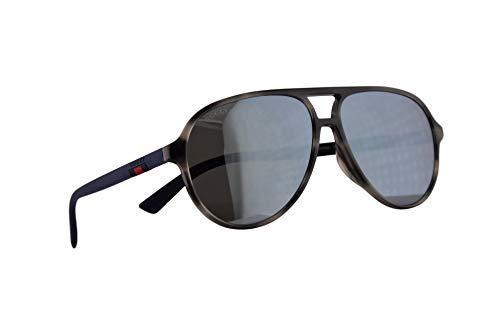Gucci GG0423SA Sonnenbrille Havana Blau Mit Grauen Verspiegelten Gläsern 60mm 003 GG0423/SA 0423/SA GG 0423SA