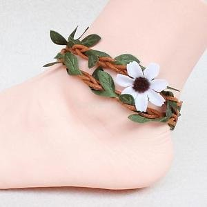 Alcoa Prime Gypsy Anklet Rattan Flower Leaves Surf Festival Foot Chain Jewelry for Women