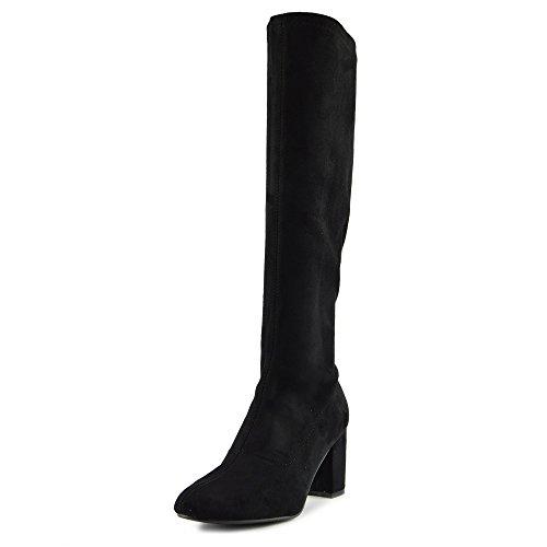 Kick Footwear Damen Lange Enge Bein-Schuhe Ziehen Sie auf Schwarzen High Heels Stiefel - UK 4/EU 37, Schwarz (Stretch Sie Stiefel Ziehen)