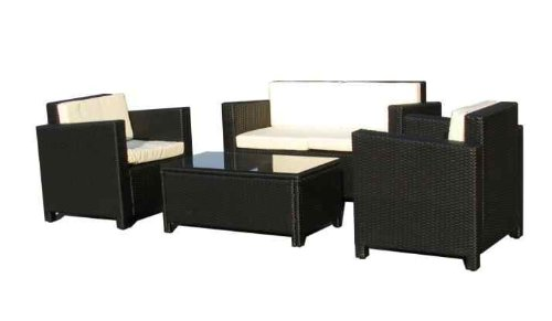 Gartenmoebel Cannes Rattan Lounge Möbel black Polyrattan ...