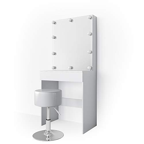 Vicco LED Schminktisch Melle Weiß Hocker Frisiertisch Frisierkommode Spiegel (Schminktisch mit LED und Hocker)