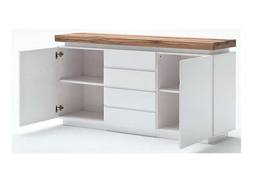 Sideboard in matt weiß, Deckplatte aus Asteiche massiv, 4 Schubkästen, 2 Türen und 2 Einlegeböden, inkl. LED-Beleuchtung, Maße: B/H/T ca. 150/81/40 cm - 2