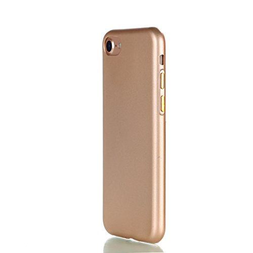 Apple iPhone 7 4.7 hülle, Voguecase Schutzhülle / Case / Cover / Hülle / TPU Gel Skin mit Nachtleuchtende Funktion (Mit Knopf-Silber) + Gratis Universal Eingabestift Mit Knopf-Gold
