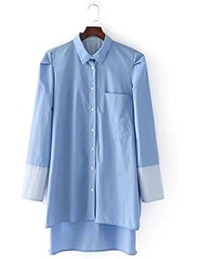 Otoño los vestidos de mujeres son holgados y azul con camisetas de algodón largo