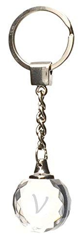 Schlüsselanhänger aus Glas, rund, mit Buchstabe V