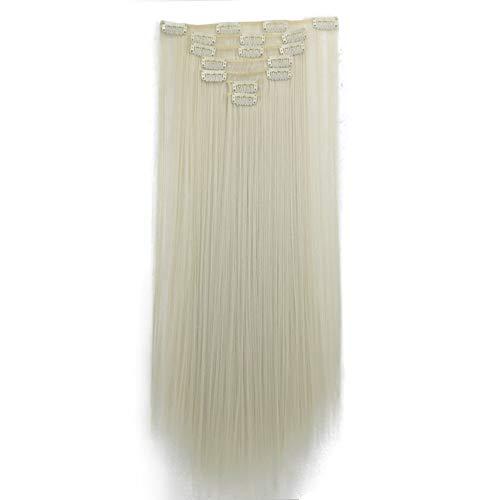 Luckhome 1Pc 16 Clips Haarteil Extensions Tresse Haarverlängerung Synthetische Haare Haarverdichtung Clips In Haarverlängerungen Stück Langes Glattes Haar Chemiefaser Perücke Perrücke (G)