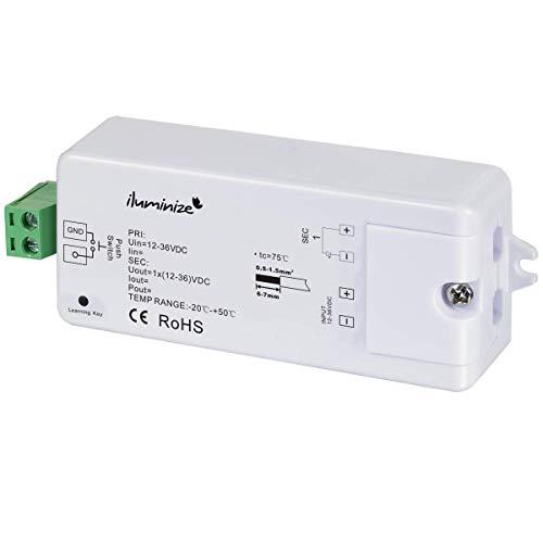 iluminize LED-Controller Funk: 750Hz (flimmerfrei), 1x 8A, für weiße LEDs, 12V-36V Konstantspannung, für LED-Streifen/-Lampen mit Konstantspannung (Funk 1x 8A)