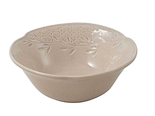 WALD linea Très Chic Set 6 Bolo in ceramica Kergrès con incisione e decorazione a mano sottosmalto, colore Tortora