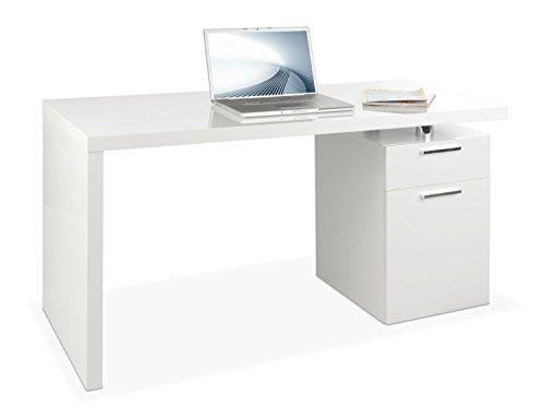 Schreibtisch Computertisch Arbeitstisch | Hochglanz Weiß - Große Metall-griff-stütze