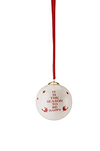 Hutschenreuther Merry Christmas Nordic Red Grande Boule en Porcelaine Season/Ø 8 cm, Porcelaine, Rouge, 9 x 9 x 10 cm
