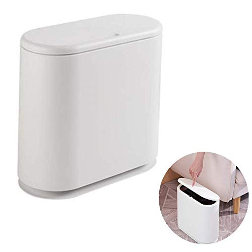 Trocken- und Nasssortiermülleimer mit leichtem Druckabscheideeimer Federeimer Doppelschichtpapierkorb, passend für Bad Küche Schlafzimmer Büro oval, weiß (Knöpfe Oval Gehäuse)