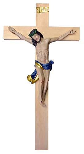 Kaltner Präsente Geschenkidee - 50 cm Wandkreuz Kruzifix mit Jesus Christus Figur von Hand bemalt auf Kreuz aus Zirben Zirbe Holz