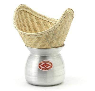 Diamond Reisdämpfer - Laos Pot und Bambuskorb zum Dampfgaren von Reis Bamboo Steamer Set