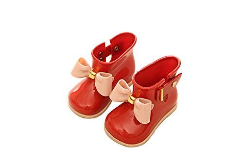bomkin Kids Mädchen Schmetterling Wasserdicht Anzieh-Gummi Regen Stiefel (Kleinkind/Little Kids), Mädchen, rot