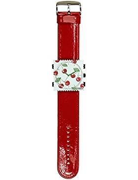 S.T.A.M.P.S. Stamps Uhr komplett - Zifferblatt Merry Cherry mit Lederarmband Glossy Rot