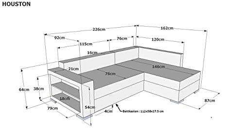 B-famous PolstereckeHouston-2-Pur Schenkelmaß 226 x 160 cm Materialmix Mikrovelours-Struktur, schwarz / grau - 4