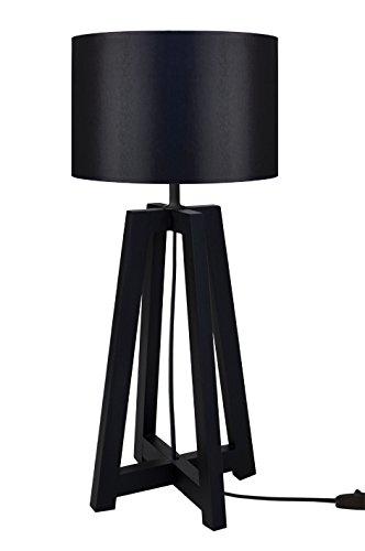 Tosel 64971 Lampe à Poser 1 Lumière, Bois, E27, 40 W, Noir, 22 x 50 cm