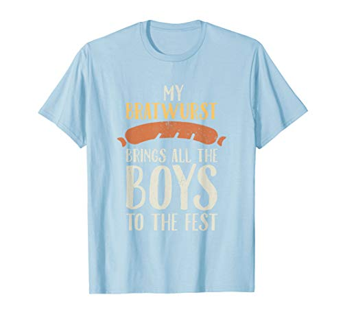 Meine Bratwurst bringt das All Boys Lustige Oktoberfest T-Shirt (Lederhosen Boy Kostüm)
