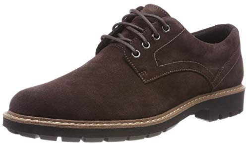 Clarks Batcombe Hall Derby - Zapatos de Cordones  para Hombre, Marrón Dark Brown Suede, 42 EU