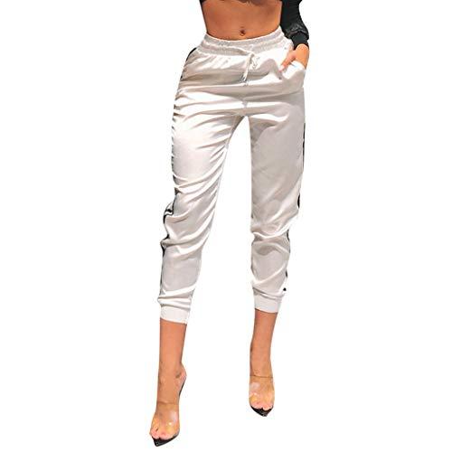 VRTUR Damen Hosen Sweatshose Streifen Sweatpants Elastischer Bund Jogginghose mit Taschen und Tunnelzug - Lingerie Vinyl Korsett
