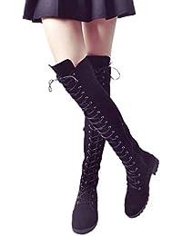 Frauen Wildleder Stiefel Overknees Stiefel Blockabsatz Stiefeletten  Seitenreißverschluss Runder Kopf Flache Schuhe High Heels 9d4afeefc6