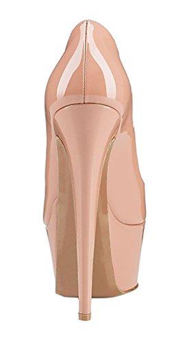 Cuckoo Damen High Heel Closed Round Toe Patent Plattform Stiletto Party Schuhe nackt