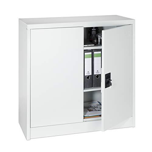 Relaxdays armadietto ufficio, con chiave, 2 ripiani ad altezza regolabile, schedario, mobiletto metallico ufficio, hlp: 91 x 90 x 40 cm, grigio