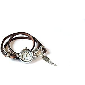 Armbanduhr als Wickeluhr, Leder mit Charms Engelflügel