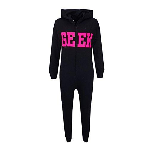 A2Z 4 Kids Unisex Kinder Mädchen Jungen Geek Aufdruck - Cotton Onesie Geek Black & Pink 7-8