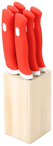 Doma Stainless Steel Kitchen Knife Set with Wooden Stand, Set of 6, Red  available at amazon for Rs.299