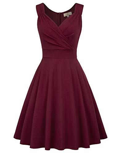 GRACE KARIN dunkelburgundy Kleid Weihnachten Petticoat Kleider Damen Festliche Kleider v Ausschnitt Kleid CL107-7 3XL