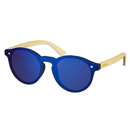 Nebelkind Unisex Runde Kunststoff/Bambus Sonnenbrille mit Bambus Etui Blau Verspiegelt One Size